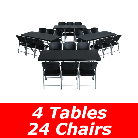 Lifetime 6 Ft Rectangular Tables & Chairs (Black) Fast & Free Shipping