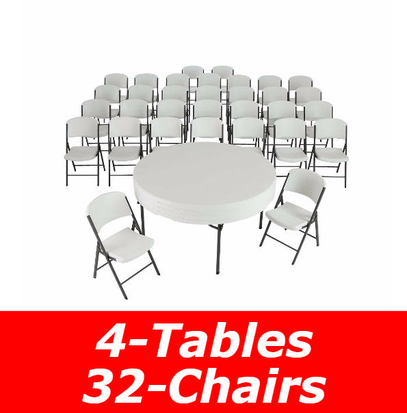 5 ft. Round Commercial Nesting Lifetime Plastic Table 4-Pack and 32-Pack of Chairs (White Granite) 80458