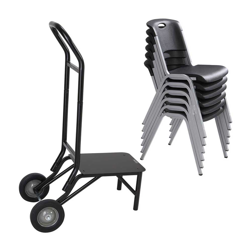 Lifetime 80525 Stacking Chair Wheel Storage Rack Cart Dolly