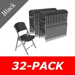 Lifetime Folding Chairs 80695 Black WIth Silver Frame 32 Pack