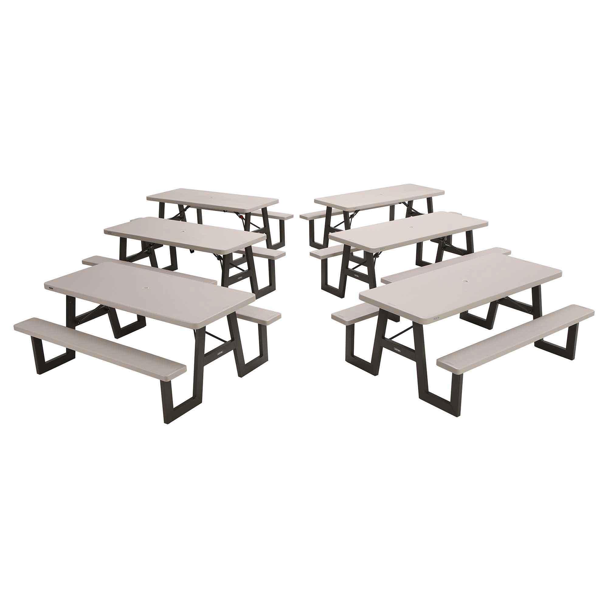 - Lifetime A-Frame Bulk 6-Pack Folding Picnic Tables