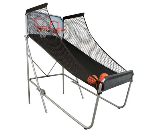 Black Friday deals Double Shot arcade basketball game with both baskets showing and several mini basketballs included showing