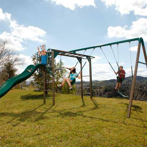 Lifetime Swing Set 90143 Monkey Bar Playground With Slide