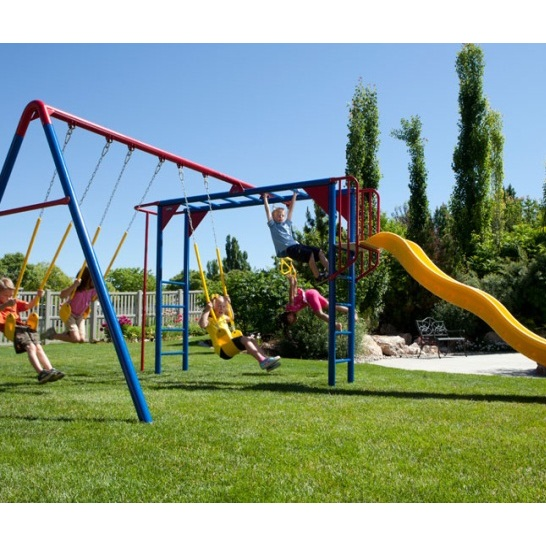 Lifetime Playground Equipment Swing Sets - 90177 Primary Color Money Bar Swing Set with Slide