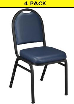 4 National Public Seating 9204 Midnight Blue Vinyl Stack Chairs