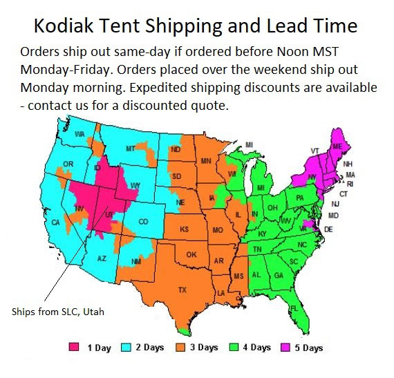 Kodiak Shipping times