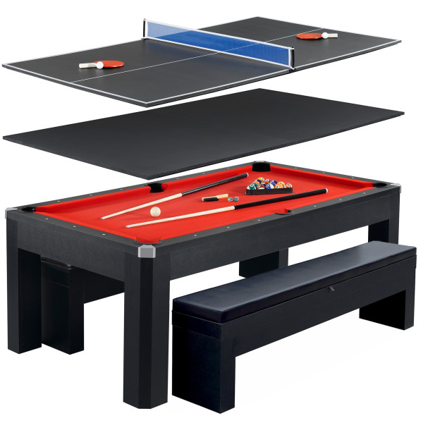 Park Avenue NGPR Foot Billiard Table With Benches And Top - Pool dining table with bench