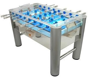 Clear Acrylic Under-lit foosball table for a night time party!  Check out our foosball tables today at our Online Store!