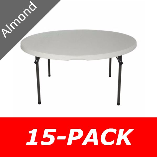 5 Ft Round Commercial Nesting Lifetime Plastic Table 15 Pack 880435 Almond