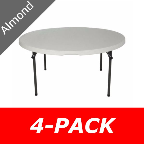 5 ft. Round Commercial Nesting Lifetime Plastic Table 4-Pack 480435 (Almond)