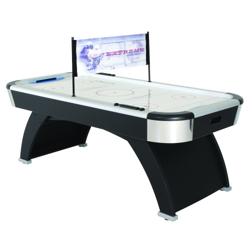 Table hockey game tables; compare to Air Hockey.