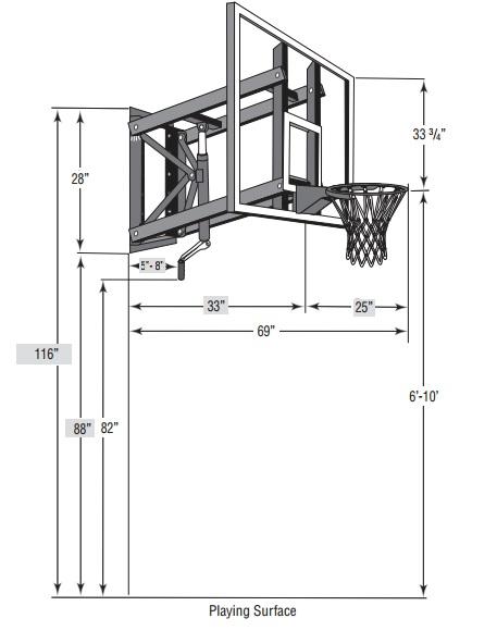 Goalsetter Wall Mount Basketball System Gs72g 72 Quot Glass
