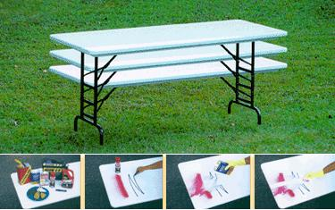 Correll Ra3072 Blow Molded Plastic 30 X 72 Adjustable Folding Table