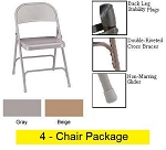 National Public Seating 0050 Series Metal Folding Chairs - 4 Pack