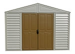 Woodbridge 10.5 x 8 Adobe Shed 20224 with brown roof and doors