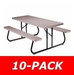 Lifetime Folding Picnic Tables 2119 10-Pack Putty 6 ft. Table Top