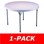 Lifetime Round Table 22960 46 in. White Granite With Folding Frame