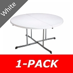 Lifetime Round Folding Tables - 25402 60-inch White Fold-in-Half Table