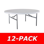 Lifetime 2673 6' Round Table 12 Pack with White Granite Color Top