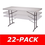 Lifetime Tables - 2920 Adjustable-Height Unit Almond 6 ft. Top 22 Pack