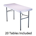 Lifetime Tables - 2950 White Granite Folding Table 4 Ft. Top - 20 Pack