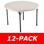 Lifetime Round Folding Tables 2968 Almond 46 in. Top - 12 Pack