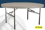 SO 12 PACK 2977 Lifetime Folding Tables Putty 60 Foldable Round Table