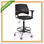 OFM 326-P-AA3-DK Stars Swivel Plastic Chair with Arms and Drafting Kit