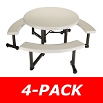 Lifetime Picnic Tables 42127 Round Picnic Tables Almond 4 Pack