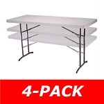 4 Lifetime Adjustable Folding Tables 42920 Utility 6 Ft Almond Top