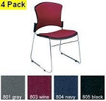 OFM Stack Chairs 310-F Fabric Seat and Back Stacking 4 Pack