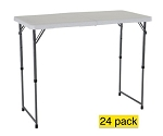 24 Lifetime Adjustable Leg Tables 4435 White 4' Adjustable Height