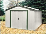 10x10 Del Mar Metal Shed with Green Trim