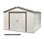 10x12 Del Mar Metal Shed Kit with Foundation Kit in Brown Trim