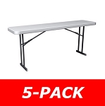 Lifetime Folding 580176 Commercial Seminar Tables 6' White 5 Pack