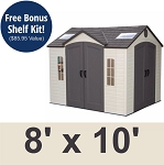 Lifetime Storage Shed Brighton 60001 Dual Side Entry Garden Sheds 8 x 10