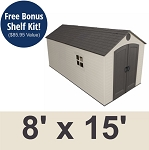 Lifetime Storage Sheds 60075 Plastic Storage Shed 8 x 15