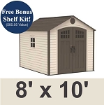 Lifetime 60117 Outdoor Storage Shed 8 x 10 With Full Length Skylight