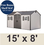 Lifetime Garden Shed 60138 15x8 W/ Verticle Siding Full Length Skylight