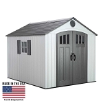 LIfetime Storage Shed 60202 8x10 Gray With Wood Grain Style Floor