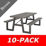 Lifetime Folding Picnic Tables 60233 A-Frame 6-Foot Top Brown 10 Pack