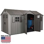 Lifetime 60318 15x8 Light Brown Rough-Cut Dual-Entry Outdoor Storage Shed
