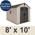 60332 Lifetime Storage Shed 8x10 Plastic With Steel Trusses