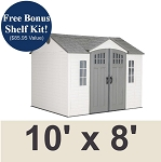 60333 Lifetime Outdoor Storage Shed 10 x 8 Desert Sand Side Entry