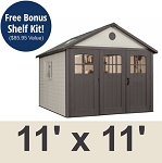 Lifetime Storage Shed 60187 Tri-Fold Doors 11x11 ft. Outdoor Building
