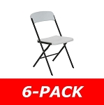 684016 Contemporary Essential Folding Chair White Granite 6 Pack