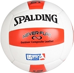 Spalding Never Flat 72-070E Composite Leather Red Beach Volleyball