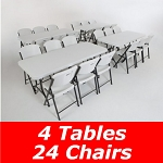 4 Lifetime 6' Folding Tables and 24 Folding Chairs 80148 White