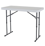 Lifetime Adjustable Leg Table 80160 4-foot White Plastic Top