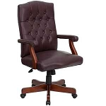 Executive Office Task Chair 801L-BURGUNDY Martha Washington Leather